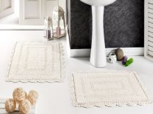 Комплект ковриков для ванной EVORA 60x100 + 50x70(крем) Арт.5088-4