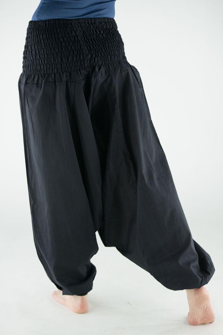 ЧЁРНЫЕ Индийские штаны алладины с широким поясом (СПб)