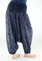 Синие женские штаны алладины (афгани) с широким поясом, хлопок. Интернет магазин Санкт-Петербург