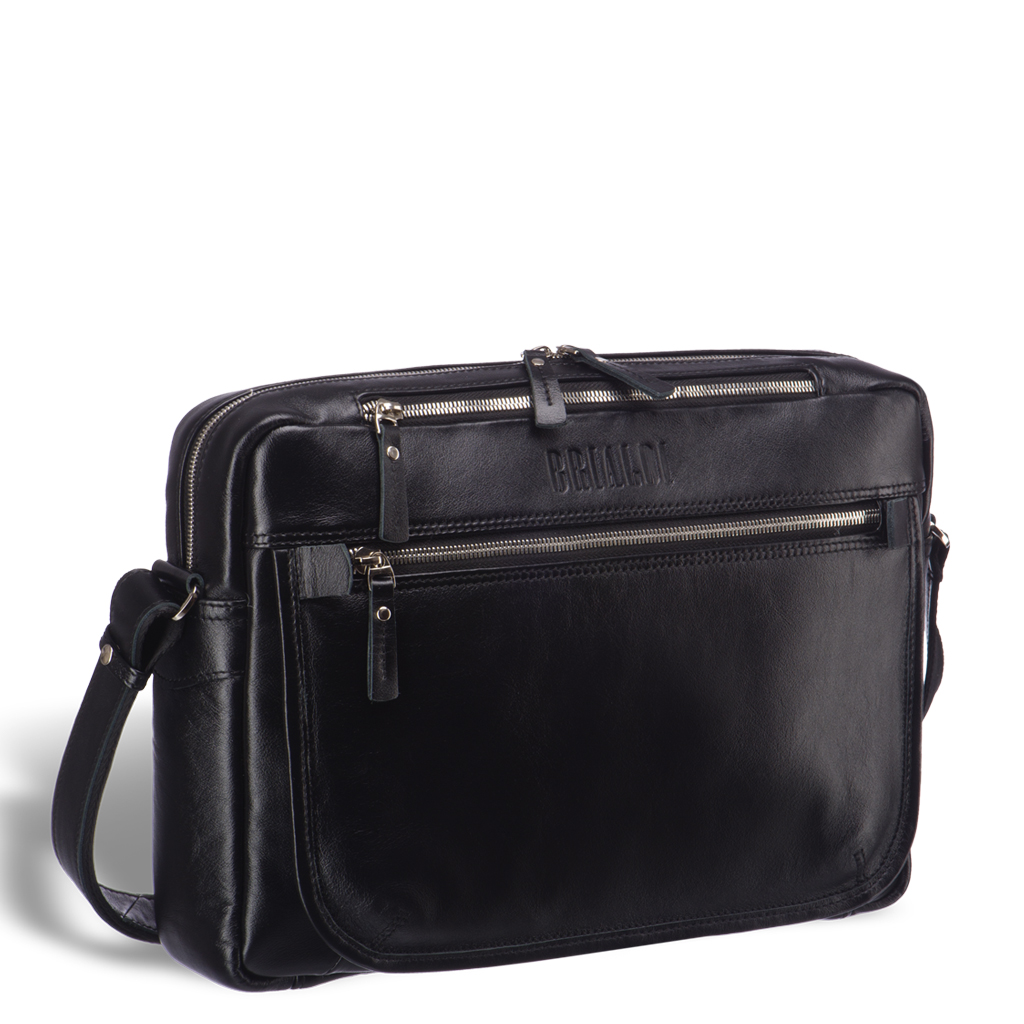 95bfcb7f6ed4 Кожаная сумка через плечо BRIALDI Garland (Гарлэнд) black edition