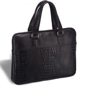 Женская деловая сумка SLIM-формата BRIALDI Belvi (Бельви) croco black
