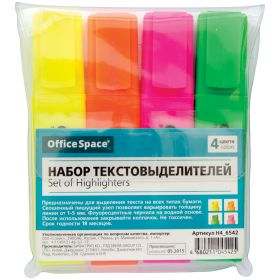 Набор т/маркеров 4цв OFFICE SPACE 1-5мм /12 6542