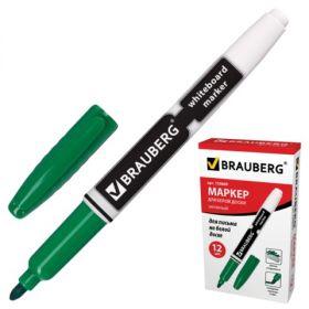 Маркер д/доски 4мм BRAUBERG зеленый с клипом кругл наконечн эргоном/12 150849