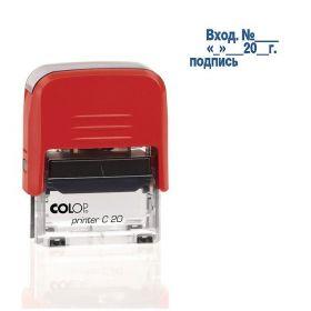 Штамп 38*14мм COLOP ВХОД № с датой и подписью С20 3.7