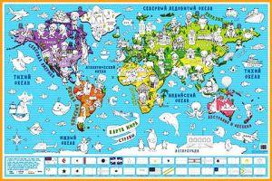Карта-раскраска настенная Страны