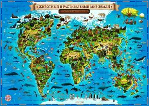 Карта Животный и растительный мир Земли 101х69 см