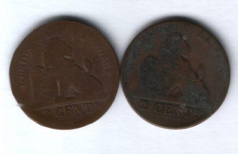 2 сантима 19 век Бельгия, 2 шт