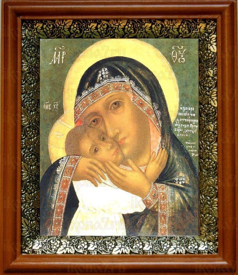 Девпетерувская икона БМ (19х22), светлый киот