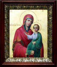 Закланная икона Божьей Матери (19х22), темный киот