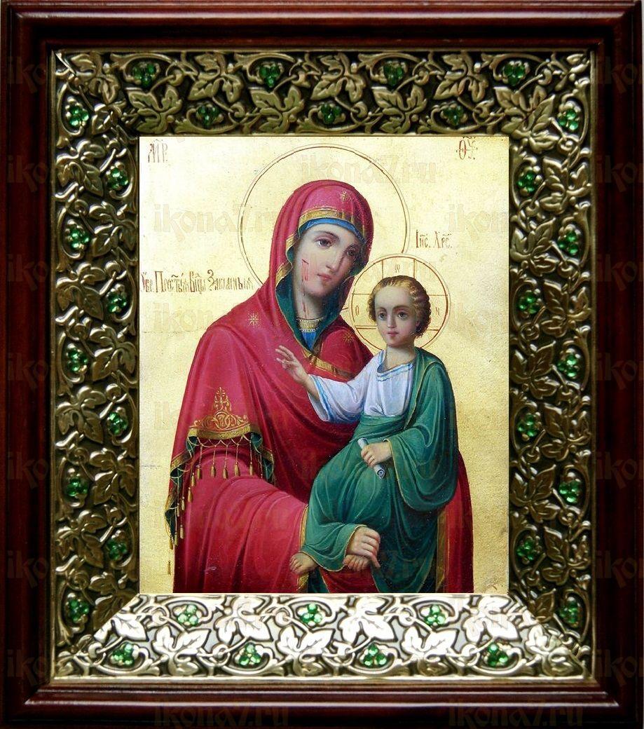 Закланная икона Божьей Матери (21х24), киот со стразами
