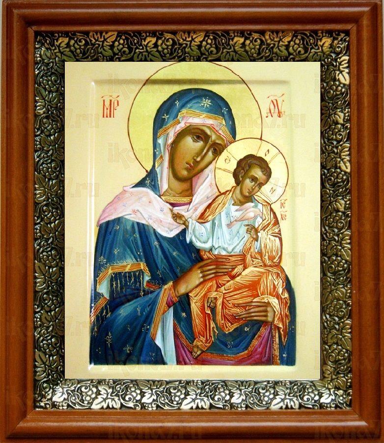 Коневская икона БМ (19х22), светлый киот