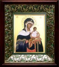 Коневская икона БМ (21х24), киот со стразами