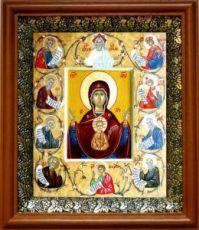 Курская-Коренная икона БМ (19х22), светлый киот