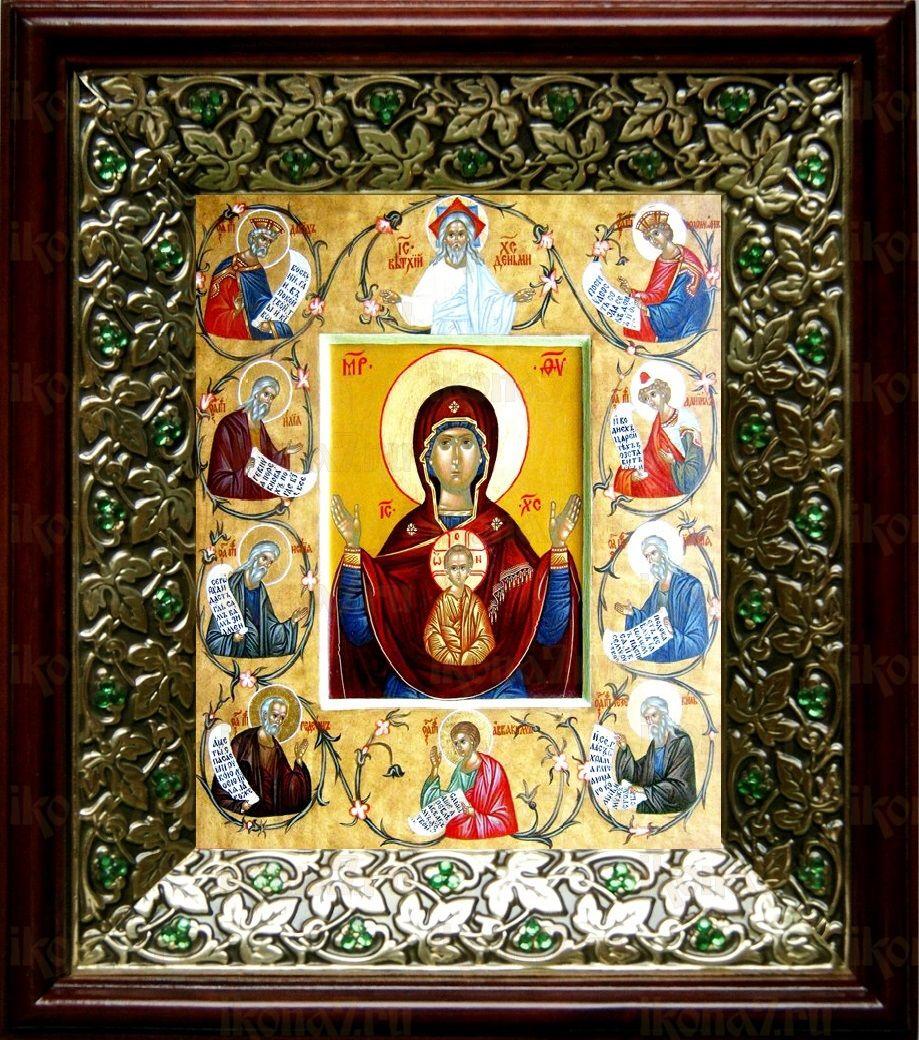 Курская-Коренная икона БМ (21х24), киот со стразами
