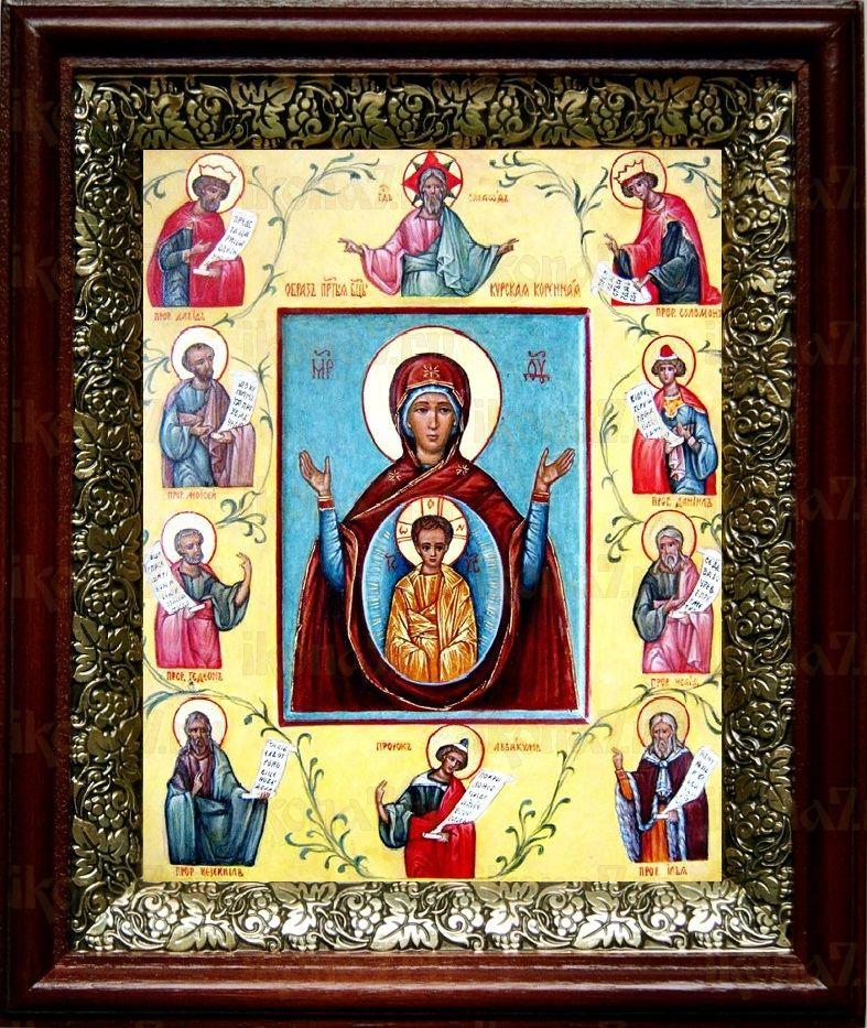 Курская-Коренная икона БМ (19х22), темный киот