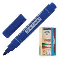 Маркер для флипчарта CENTROPEN, непропитывающий, круглый наконечник 2,5 мм, синий 151129