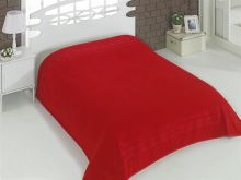 "Простыня махровая ""KARNA"" REBEKA 200x220 см (красная) Арт.2655-7"