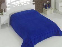 """Простыня махровая """"KARNA"""" REBEKA 200x220 см (синяя) Арт.2655-13"""