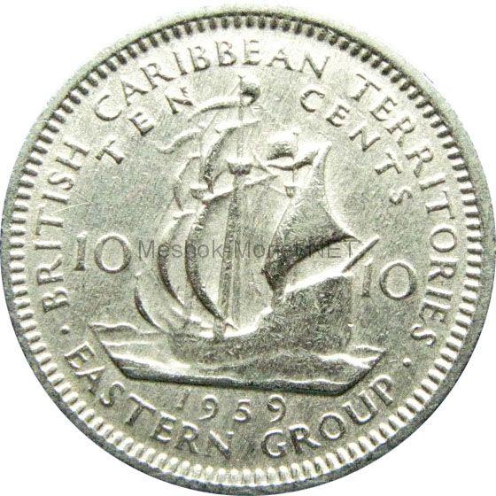 Карибы 10 центов 1959 г.