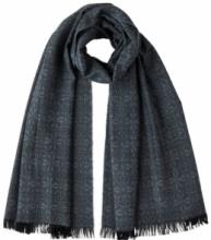 шотландский тонкий широкий легкий шарф с графическим узором Арт-деко, 100% шерсть мериноса  Tonal Deco Grey Деко Серебристо-серый плотность 3