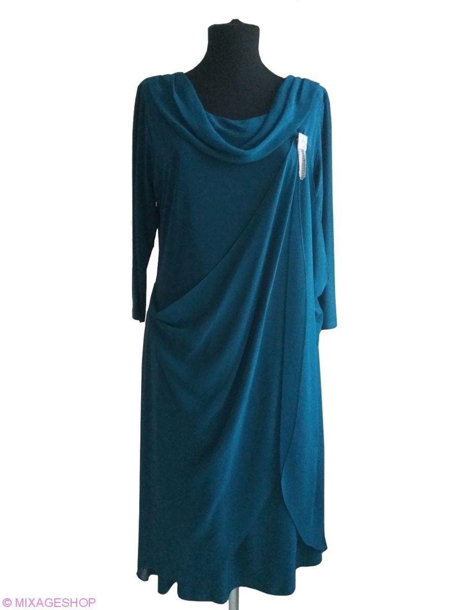 Трикотажное платье в сочетании с шифоновыми драпировками