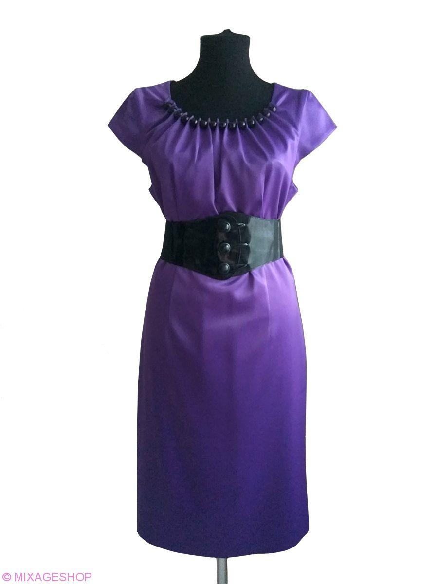 Сиреневое платье из тонкого атласа в комплекте пояс