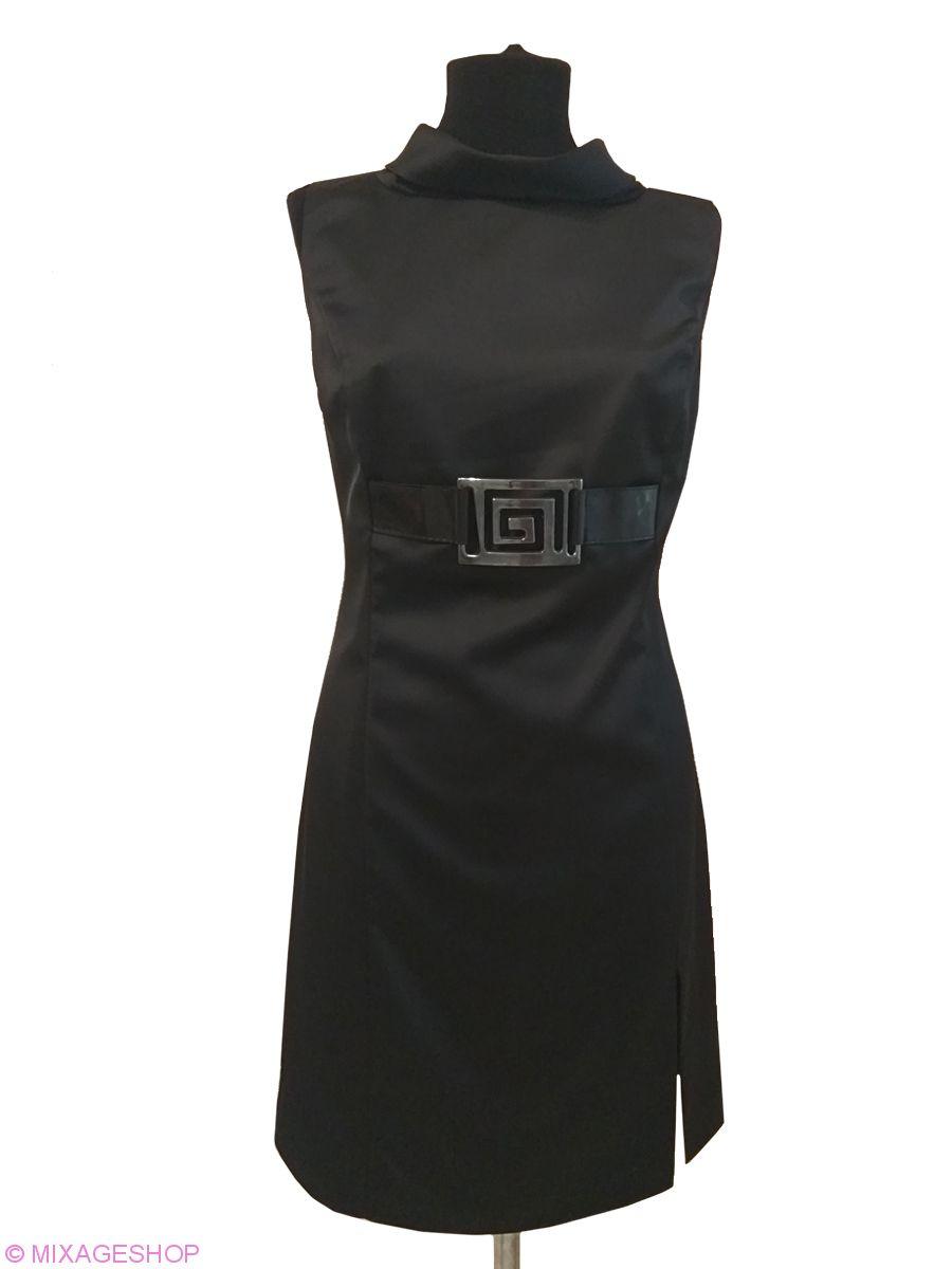 Черное атласное платье без рукава со стойкой-хомут