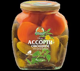 """Ассорти Овощное """"Медведь любимый"""" ст/б 720мл (косынка)"""