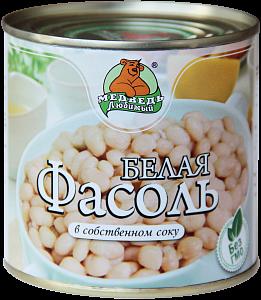 """Фасоль белая в собственном соку """"Медведь любимый"""" ж/б 425мл"""