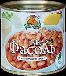 """Фасоль белая в томатном соусе """"Медведь любимый"""" ж/б 425мл"""