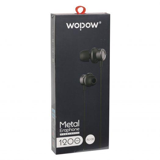 Наушники вакуумные - гарнитура Wopow Metal Eraphone AU-08 (ЧЕРНЫЕ)