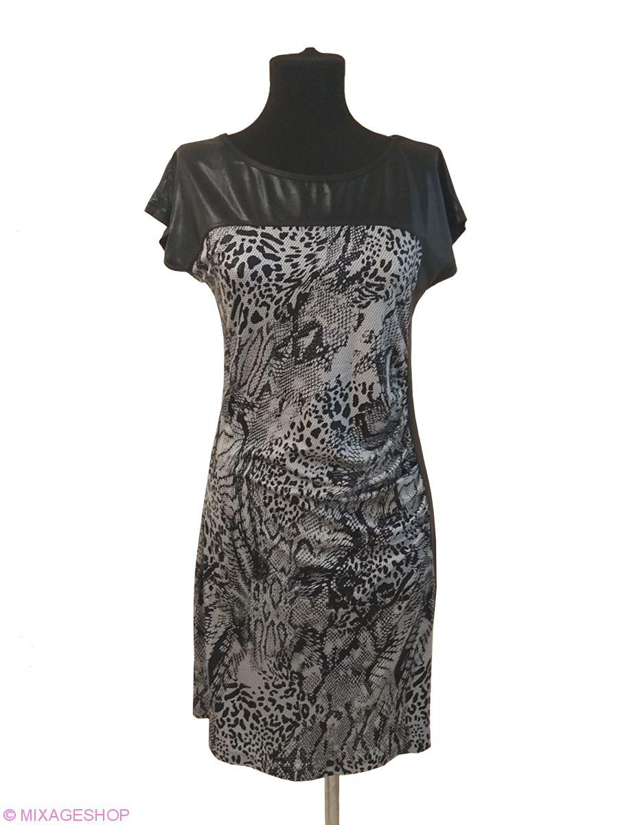 Оригинальное комбинированное платье из черного и черно-серого трикотажа