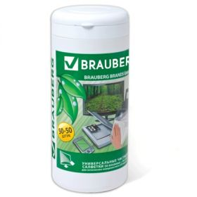 Чист. салфетки 50+50шт BRAUBERG Effect Clean сухие+влажные 510121