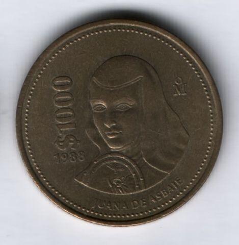 1000 песо 1988 г. Мексика XF, Сестра Хуана Инес де ла Крус