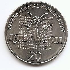 100 лет Международному женскому дню 20 центов Австралия 2011