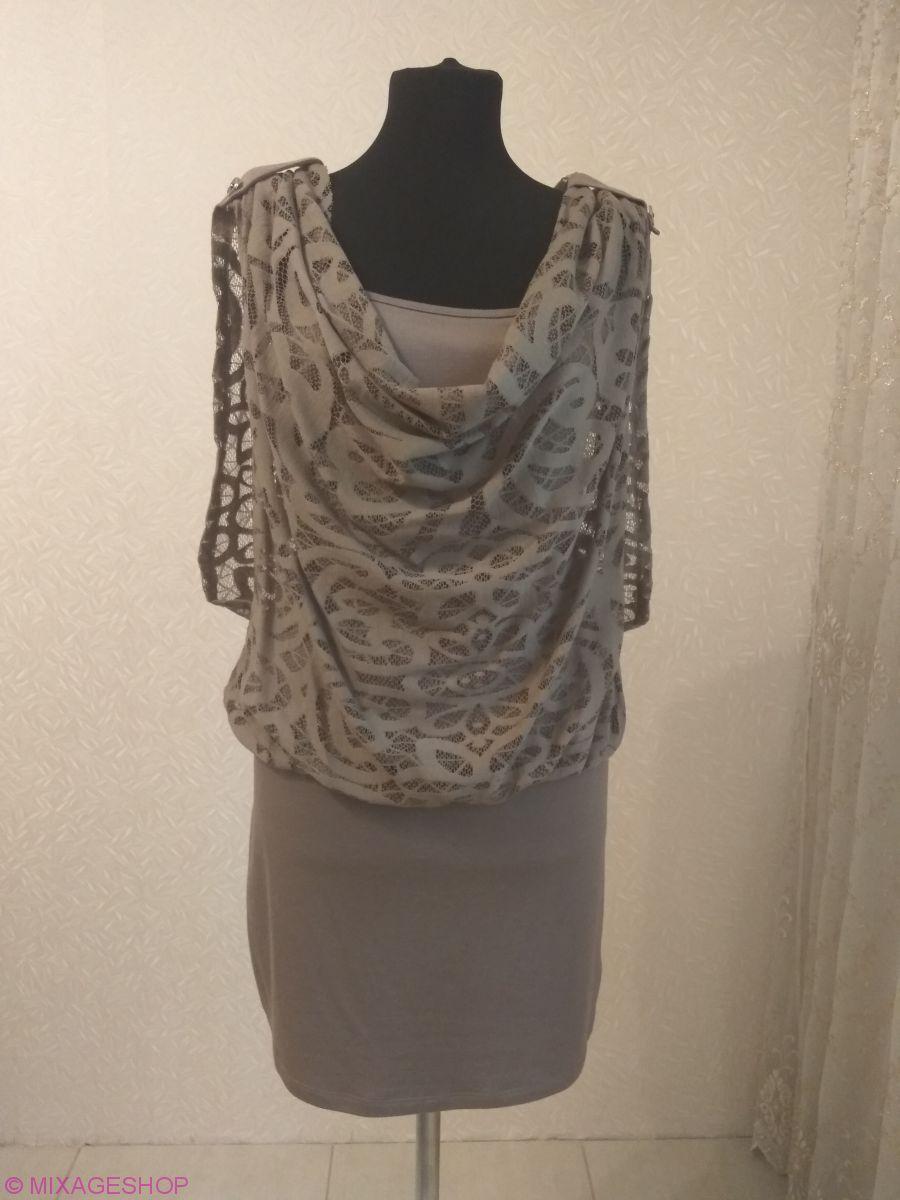 Трикотажное платье из ажурного и однотонного трикотажа
