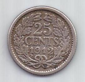 25 центов 1912 г. редкий год. Нидерланды