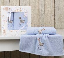 """Комплект махровых полотенец для детей """"KARNA""""  BAMBINO-GIRAFFE 50*70 + 70*120 см (голубой) Арт.2131-1"""