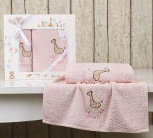 """Комплект махровых полотенец для детей """"KARNA""""  BAMBINO-GIRAFFE 50*70 + 70*120 см (розовый) Арт.2131-3"""