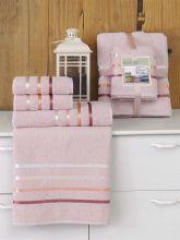 Комплект из 4-х махровых полотенец BALE (50*80)*2+(70*140)*2 (св.розовый) Арт.953-7