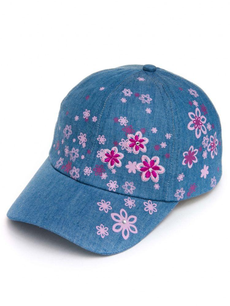 Бейсболка Цветочки для девочки размер 52-54