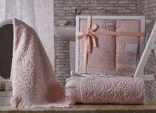 Комплект из 2-х махровых полотенец ESRA 50*90+70*140(абрикосовый) Арт.1687-1