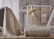Комплект из 2-х махровых полотенец ESRA 50*90+70*140(бежевый) Арт.1687-2