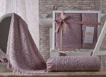 Комплект из 2-х махровых полотенец ESRA 50*90+70*140(гр.розовый) Арт.1687-3