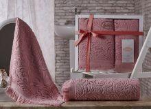 Комплект из 2-х махровых полотенец ESRA 50*90+70*140(розовый) Арт.1687-5