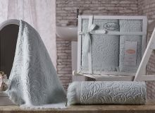 Комплект из 2-х махровых полотенец ESRA 50*90+70*140(св.зелёный) Арт.1687-6