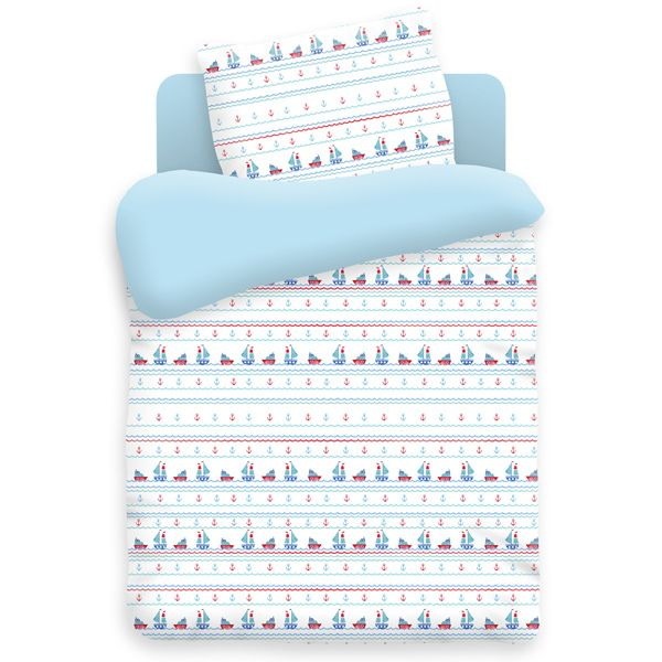 """Детское постельное бельё """"Кораблики"""", рис.8847-голубой"""