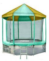 Батут с внутренней защитной сеткой и зелено-желтой крышей - Optifit Like Green 16 FT (4,88м)
