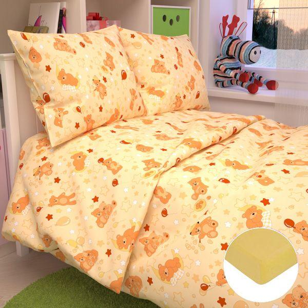 Детское постельное бельё с трикотажной простыней, желтое.