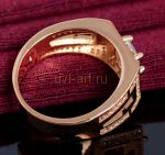 Позолоченное мужское кольцо с искусственным бриллиантом (арт. 264001)